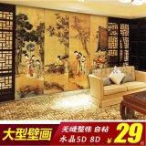 大型壁畫牆紙壁紙美容店主題酒店賓館餐廳會所古典仕女故事古畫牆畫