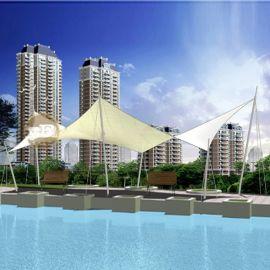 城市型膜结构游泳池遮阳棚 张拉膜游泳池隔热雨棚