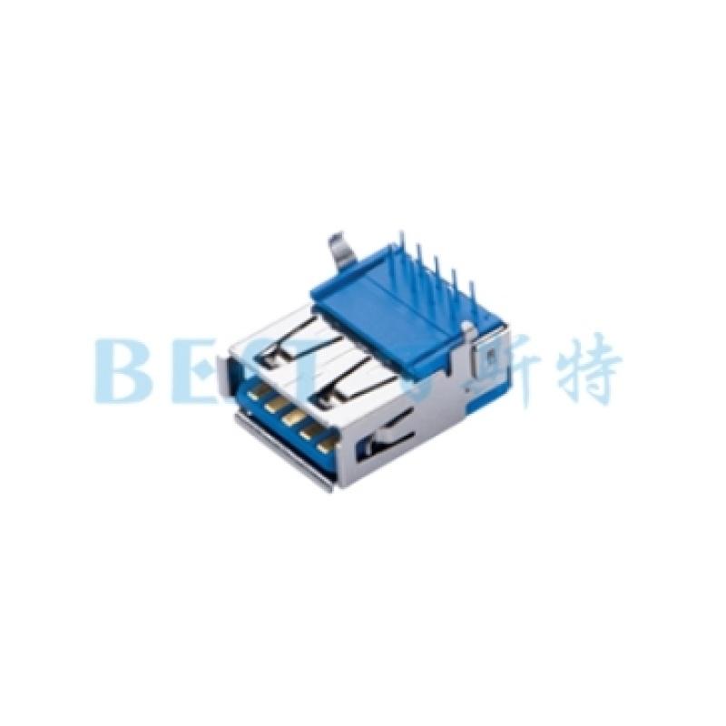 供应usb3.0母座卧式90度DIP插板usb接口