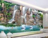 佛山瓷磚彩雕背景牆廠家個性定製彩虹石品牌客廳電視背景牆瓷磚壁畫 3D立體背景牆 瀑布流水生財 陶瓷藝術壁畫