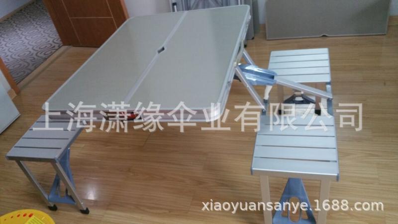厂家直销户外铝合金联体折叠桌椅手提便捷式折叠桌批发定制