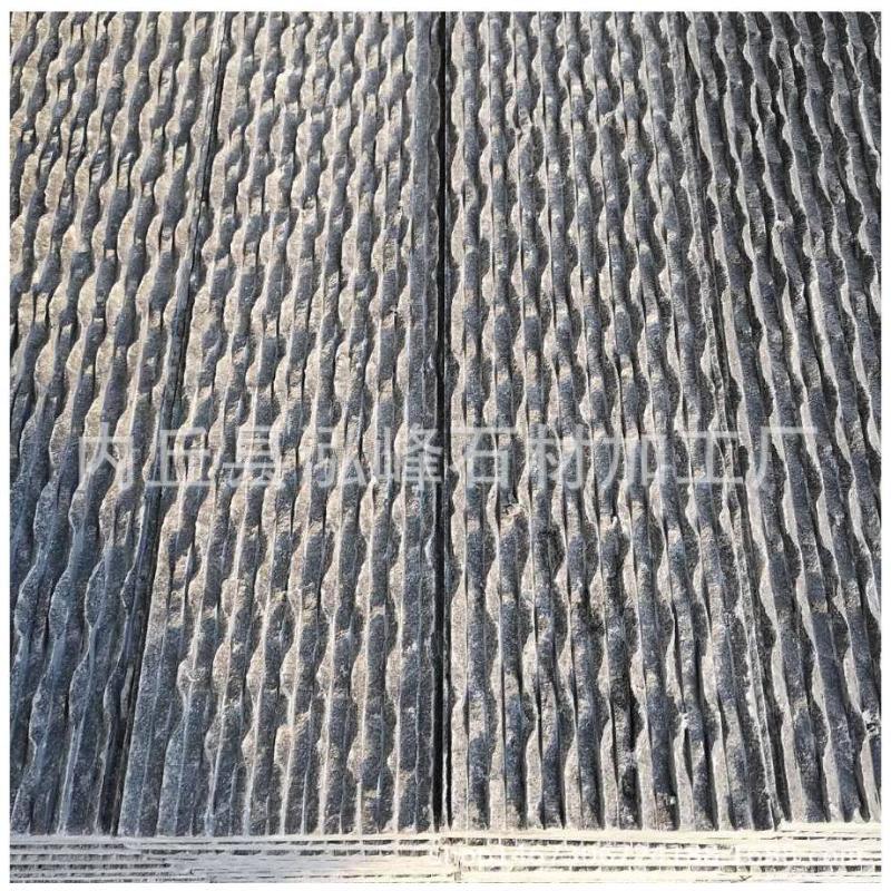 天然石材厂家流水板背景墙 假山幕墙灰色 绿色流水石