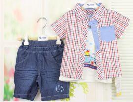 西瓜太郎Melon Boy 0218 全棉 夏装短袖男童衬衫套装