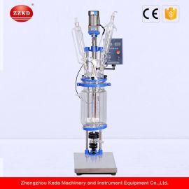 实验室高质量混合搅拌加热夹套玻璃反应釜工厂直销