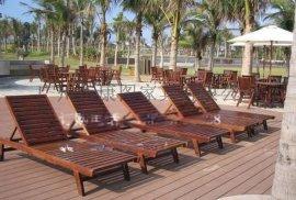 厂家直销户外木躺椅木制沙滩椅泳池休闲躺椅防腐木质沙滩椅