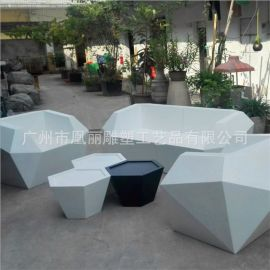廠家定做玻璃鋼休閒沙發椅組合 公園休閒沙發椅擺設