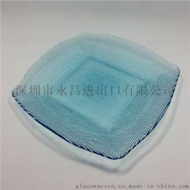 厂家直销精美玻璃碟色料花形玻璃碟异型玻璃盘