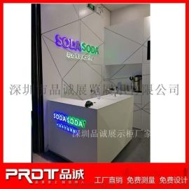 ODASODA气泡水饮品店设计定做简约木质烤漆展示柜及铁艺烤漆支架