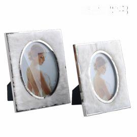 白色兔毛皮革不锈钢银色金色金属相框摆件6寸7寸软装样板间饰品