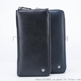 帅驰男士长款钱包真皮商务休闲拉链包手拿包多功能大容量手机包