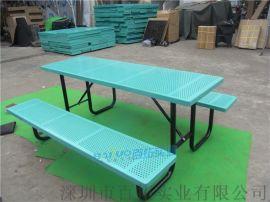 连体铁艺户外桌椅组合露台室外铁艺桌椅组合