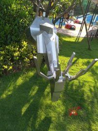 定制景观公园不锈钢小鹿雕塑水景不锈钢仿真鹿雕塑