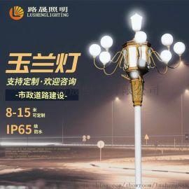 厂家定制LED玉兰灯杆8-12米景观灯中华灯防水户外路灯具道路照明
