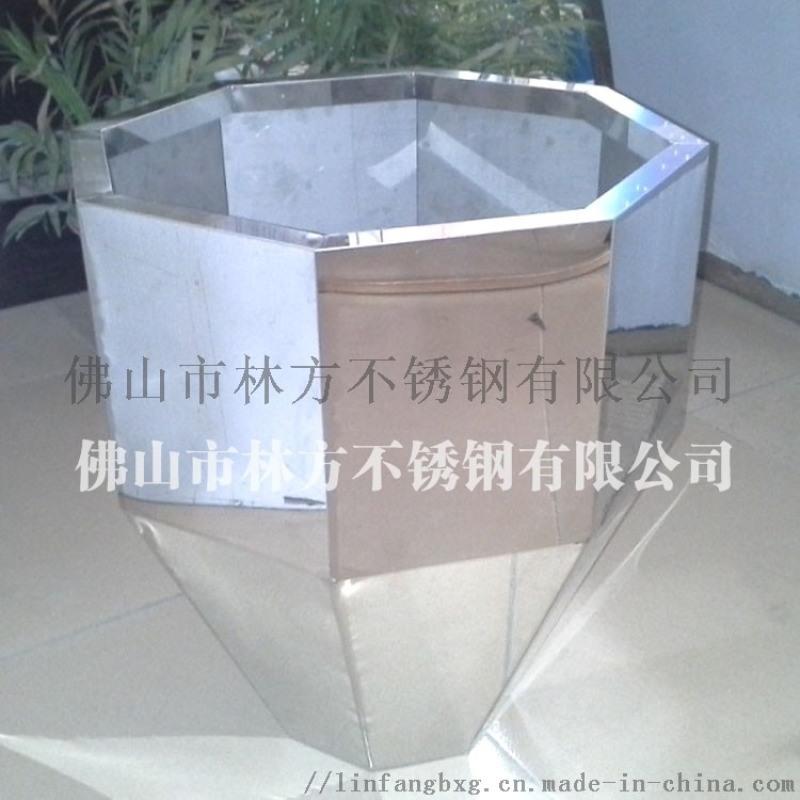 定做多邊行不鏽鋼時尚花盆 鏡面拉絲金屬花鉢
