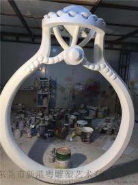 大型玻璃钢纤维戒指模型雕塑仿真钻石戒指制作