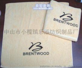 厂家直供订制纯棉竹纤维绣花割绒沙滩巾酒店浴巾