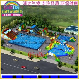 移動水上樂園設備充氣水池滑梯組合支架泳池大型成人充氣泳池滑梯 動漫水世界滑梯水池樂園