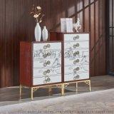 新中式哑光原木玄关柜卧室储物柜整装柜斗柜