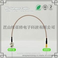 BNC08-SMB04BNC(Plug)  公针 to SMB(Plug)  公针直式铆压接RG316_RG174同轴电缆/50Ω