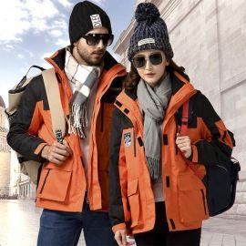 批发新款户外三合一冲锋衣防水保暖男两件套女防寒服定印制工作服