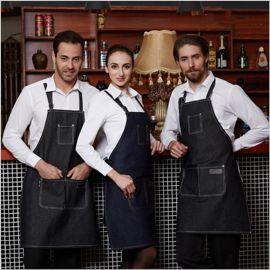 优质牛仔围裙可印LOGO西餐店咖啡厅围裙