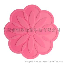 硅胶耐高温隔热锅垫 硅胶矢车菊餐垫 食品级硅胶杯垫