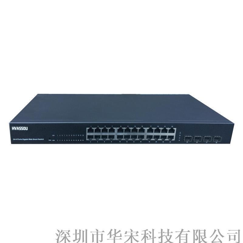 千兆4光24電光纖環網交換機網路安防監控交換機