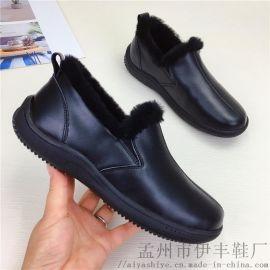 2019工厂新款牛皮面羊皮毛一体保暖老人鞋