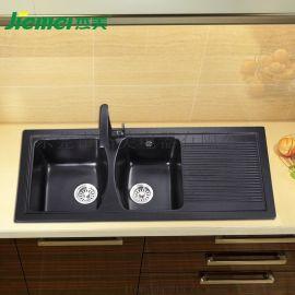 杰美JM101厨房石英石水槽双槽花岗岩水槽