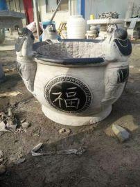 青石荷花鱼缸,仿古做旧石雕鱼缸,大理石花盆