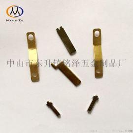 长方形弹片冲压件 L极N极铜弹片 双负极弹片