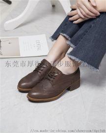 休闲单鞋英伦布洛克雕花小皮鞋真皮系带女鞋