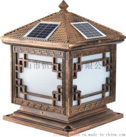 户外太阳能铝制柱头灯 恒逸柱头灯 中式柱头灯