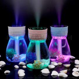 创意凤凰七彩灯瓶加湿器家用办公室空气净化器