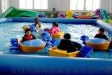 遼寧鞍山暑假經營大型充氣水池裏面玩手搖船電瓶船