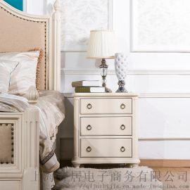 上海欧式家具工厂  齐居置家欧式实木储物柜床头柜