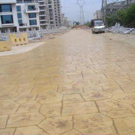 地坪艺术混凝土压花地坪彩色仿石路面压模地坪园林道路压印艺术地坪