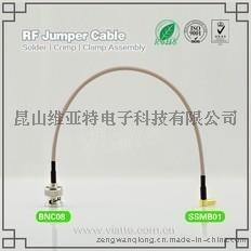 BNC08-SSMB01BNC(Plug)  公针 to SSMB(Jack)母头母针弯式铆压接RG316_RG174同轴电缆/50Ω