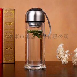 可可coco玻璃杯 水杯花茶杯带盖便携女士过滤耐热创意双层杯子
