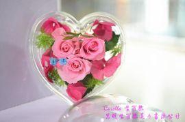出口A级永生花保鲜花心形玫瑰礼盒,情人节七夕女生礼物