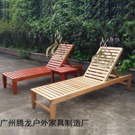 实木沙滩椅防腐木海边椅阳台午休椅泳池躺椅海边休闲椅户外沙滩椅
