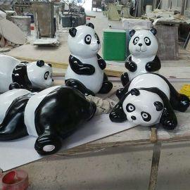 广州厂家定做玻璃钢熊猫雕塑 玻璃钢动物雕塑 景观雕塑