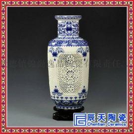 景德镇陶瓷现代中式古典粉彩镂空创意客厅家居花瓶摆件