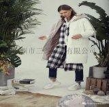 羽芮羽绒服女装宽松休闲  品牌尾货冬款三荟服饰货源