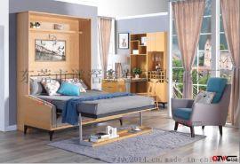 多功能隐形床-北欧原木色壁柜床-研发制造生产批发五金配件.