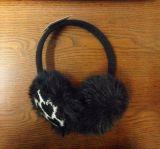 歐美外貿出口假毛人造毛皮愛心提花針織保暖耳罩