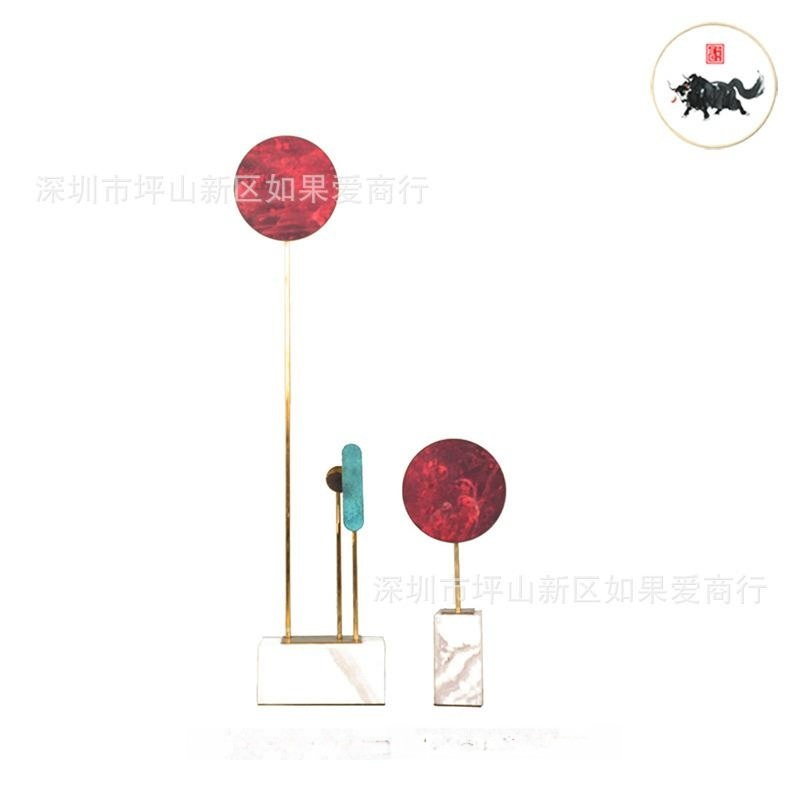 新中式中国风红色圆形大理石样板间软装客厅书房别墅软装饰品摆件