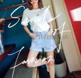 夏季新款女装 流苏高腰修身阔脚韩版女式牛仔短裤