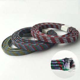电线外层编织加工 涤纶编织数据线加工 面条数据线