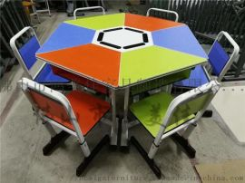 厂家定制菱形拼接可组合学生课桌椅实用性强